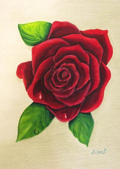 Rose Greeting Card featuring the painting Dark Red Rose by Zina Stromberg