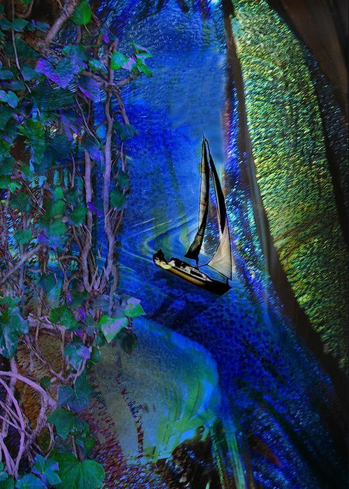Dark River Greeting Card featuring the digital art Dark River by Lisa Yount