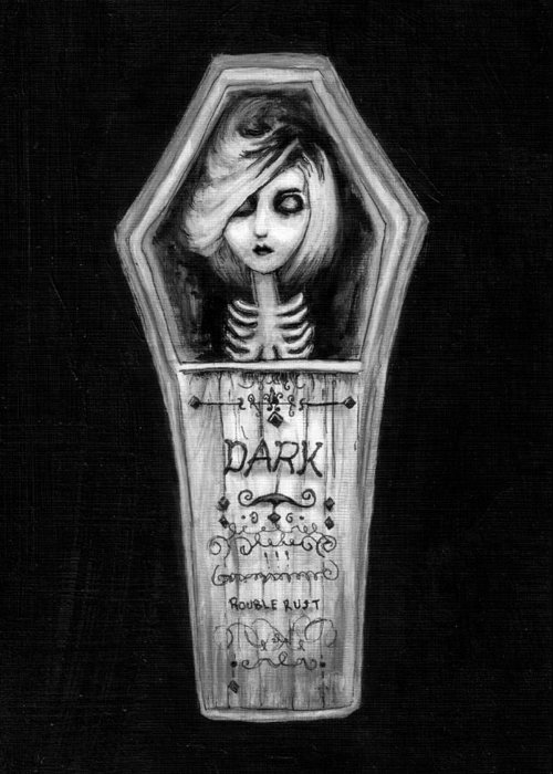 Coffin Greeting Card featuring the painting Dark by Rouble Rust