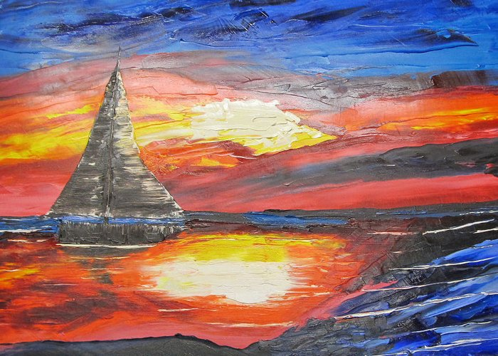 Dark Greeting Card featuring the painting Dark Sail by Larry Marano