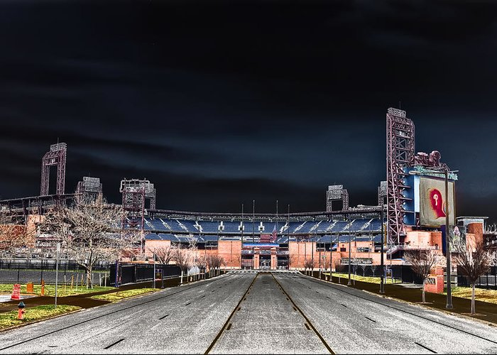 Dark Greeting Card featuring the photograph Dark Skies At Citizens Bank Park by Bill Cannon