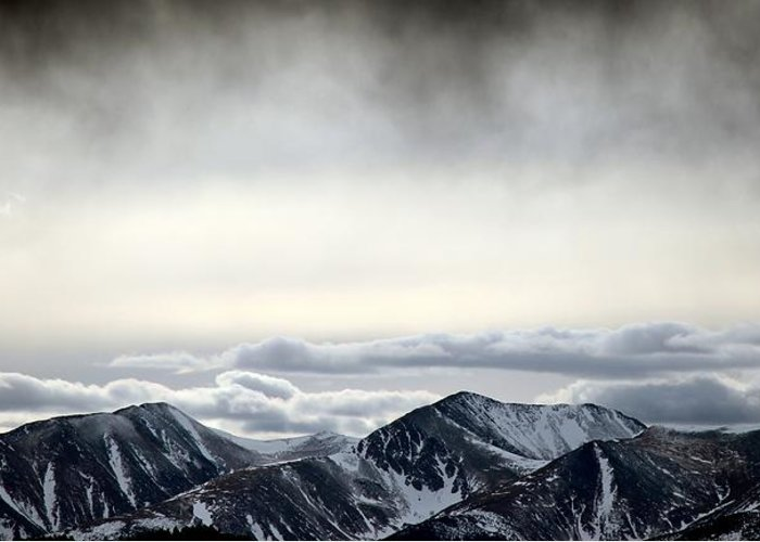 Winter Storm Cloud Virga Mist Over Sangre De Cristo Greeting Card featuring the photograph Dark Storm Cloud Mist by Barbara Chichester