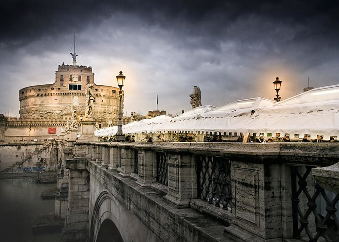 Castel Sant'angelo Greeting Card featuring the photograph Dark Winter Evening At Castel Sant'angelo - Rome by Mark E Tisdale