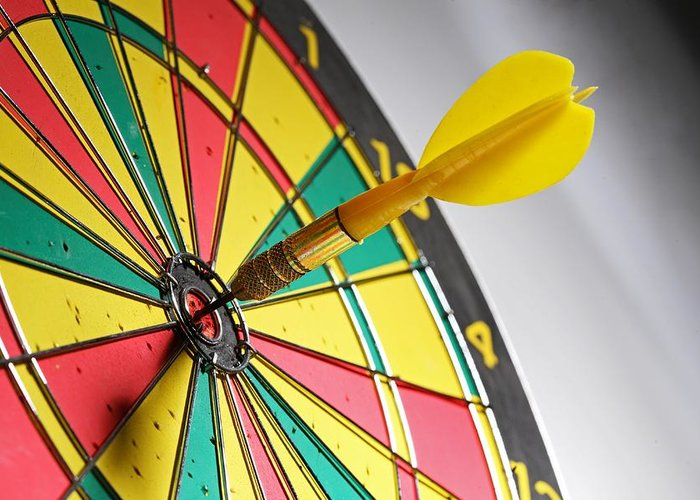 Scoring Greeting Card featuring the photograph Dart On A Dartboard by Visage