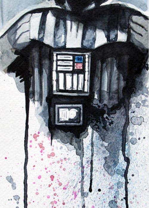 Star Wars Greeting Card featuring the painting Darth Vader by David Kraig