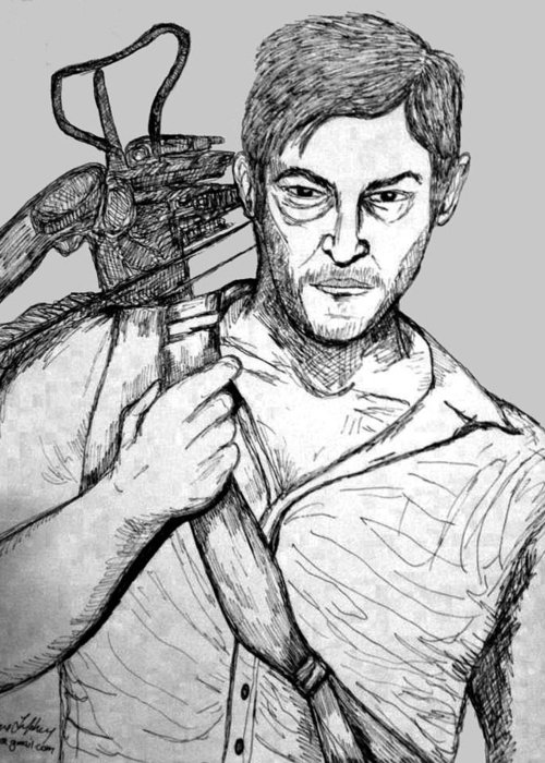 Portrait Greeting Card featuring the drawing Daryl Dixon by Caroline Lifshey