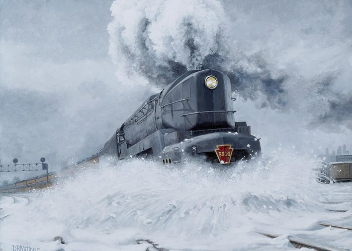 Trains Greeting Card featuring the painting Dashing Through the Snow by David Mittner