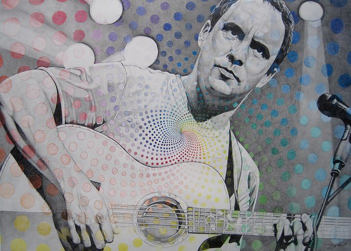 Dave Matthews Greeting Card featuring the drawing Dave Matthews All The Colors Mix Together by Joshua Morton