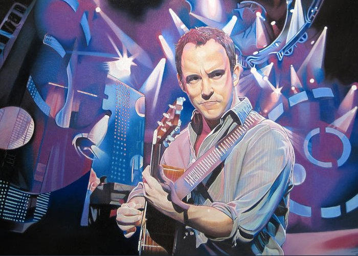 Dave Matthews Greeting Card featuring the drawing Dave Matthews And 2007 Lights by Joshua Morton