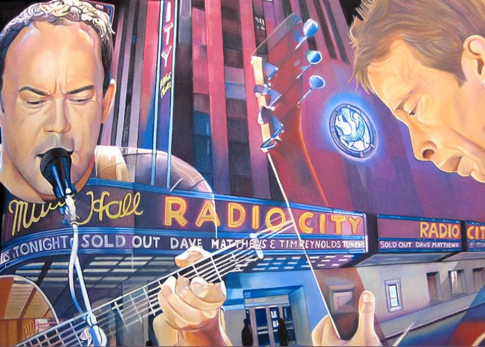 Dave Matthews Greeting Card featuring the drawing Dave Matthews And Tim Reynolds At Radio City by Joshua Morton