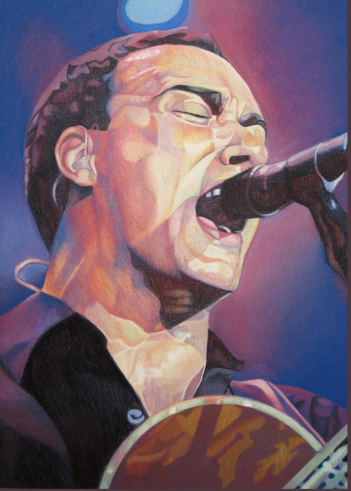 Dave Matthews Greeting Card featuring the drawing Dave Matthews Colorful Full Band Series by Joshua Morton