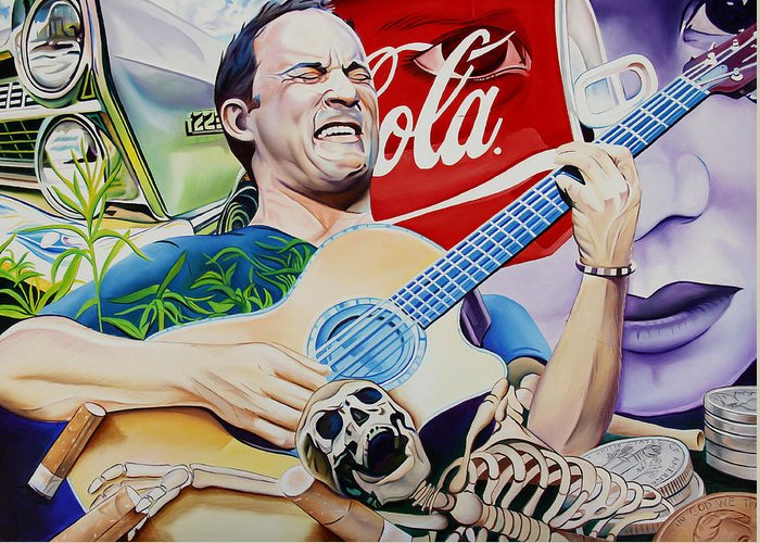 Dave Matthews Greeting Card featuring the painting Dave Matthews Seek Up by Joshua Morton