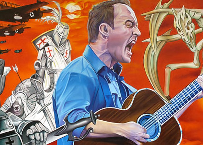 Dave Matthews Band Greeting Card featuring the painting Dave Matthews The Last Stop by Joshua Morton