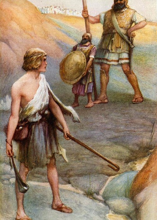 Bible Greeting Card featuring the painting David And Goliath by Arthur A Dixon