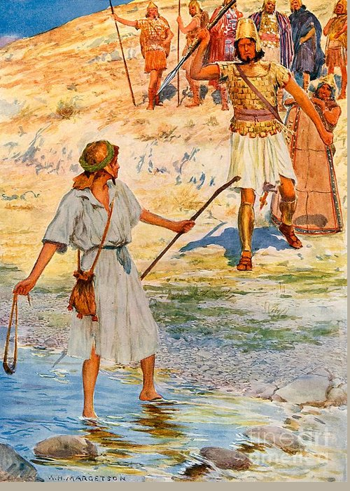 Bible; David; Goliath Greeting Card featuring the drawing David And Goliath by William Henry Margetson