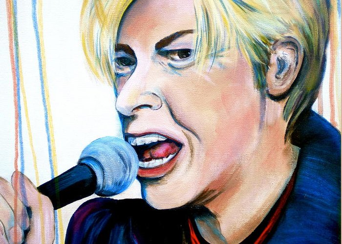 David Bowie Greeting Card featuring the painting David Bowie by Debi Starr