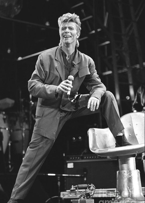 David Bowie Greeting Card featuring the photograph David Bowie by Concert Photos