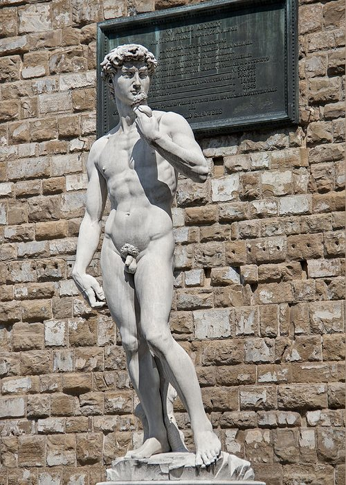 Aggression Greeting Card featuring the photograph David By Michelangelo by Melany Sarafis