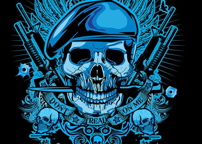 Greeting Card featuring the digital art David Cook Studios Army Ranger Military Skull Art by David Cook Los Angeles Prints