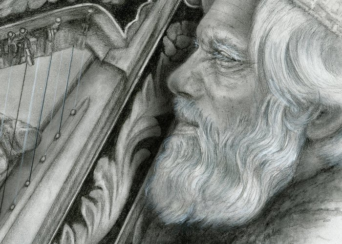 Harp Greeting Card featuring the drawing David by Penny Collins