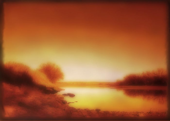 Landscape Greeting Card featuring the photograph Dawn Arkansas River by Ann Powell