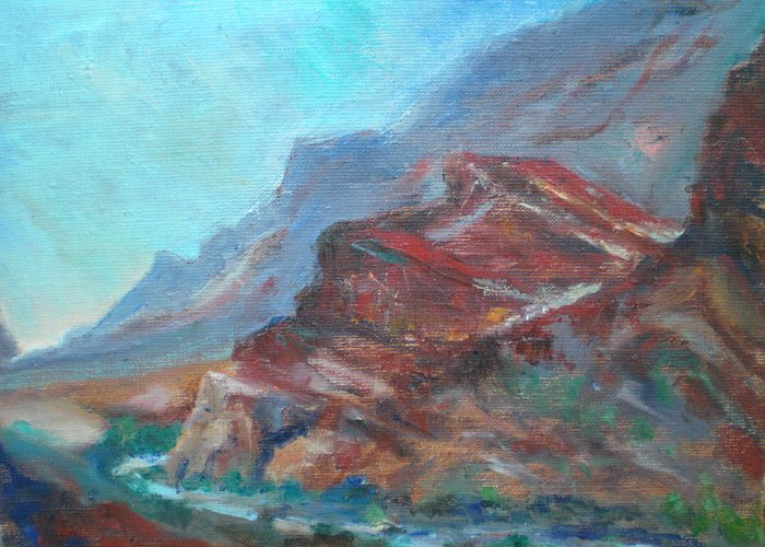 Virgin River Gorge Greeting Card featuring the painting Dawn In The Gorge by Bryan Alexander