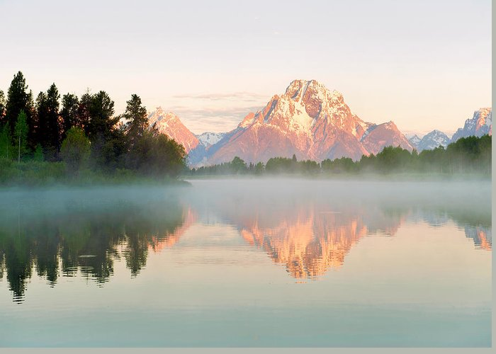 Grands Teton Greeting Card featuring the photograph Dawn Of Oxbow Bend by Nian Chen