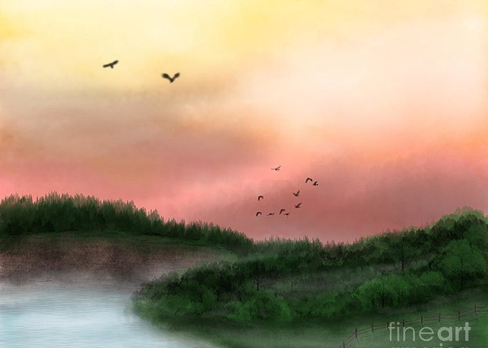Landscape Greeting Card featuring the digital art Dawn On The Lake by Thomas OGrady