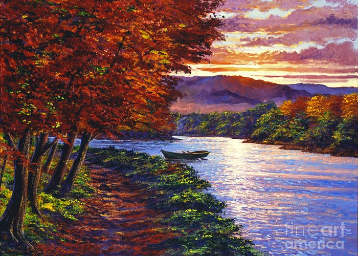 Landscape Greeting Card featuring the painting Dawn On The River by David Lloyd Glover