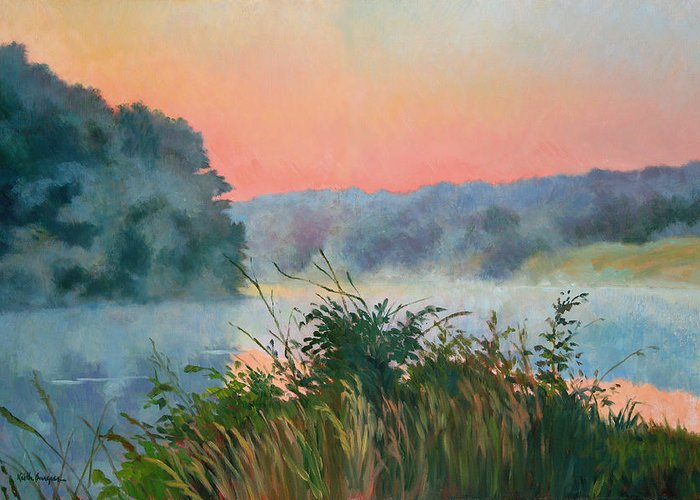 Impressionism Greeting Card featuring the painting Dawn Reflection by Keith Burgess