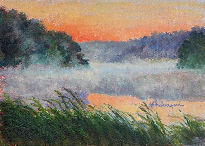 Impressionism Greeting Card featuring the painting Dawn Reflection Study by Keith Burgess