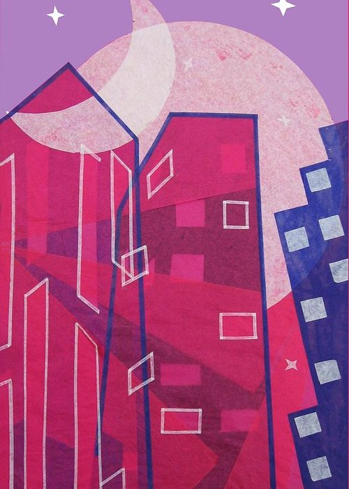Julia Bowman Greeting Card featuring the mixed media Dawn To Dusk In The City by Julia and David Bowman