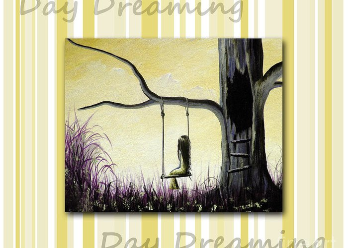 Nursery Decor Greeting Card featuring the painting Day Dreaming In Yellow By Shawna Erback by Shawna Erback