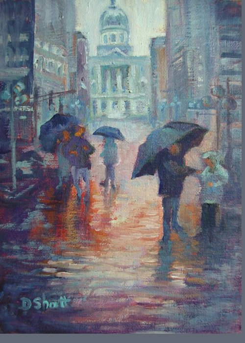 Rain Greeting Card featuring the painting Day For Ducks by Donna Shortt