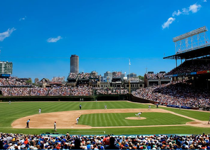 Cubs Greeting Card featuring the photograph Day Game At Wrigley Field by Anthony Doudt