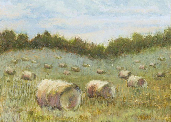 Hay Bales Greeting Card featuring the painting Day Is Done by Vic Mastis