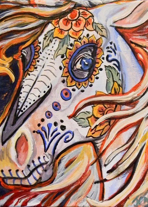Horse Greeting Card featuring the painting Day Of The Dead Horse by Jenn Cunningham
