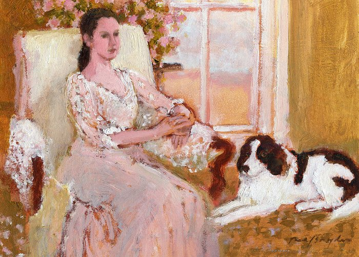 Woman Sitting Greeting Card featuring the painting Daydreamers by J Reifsnyder