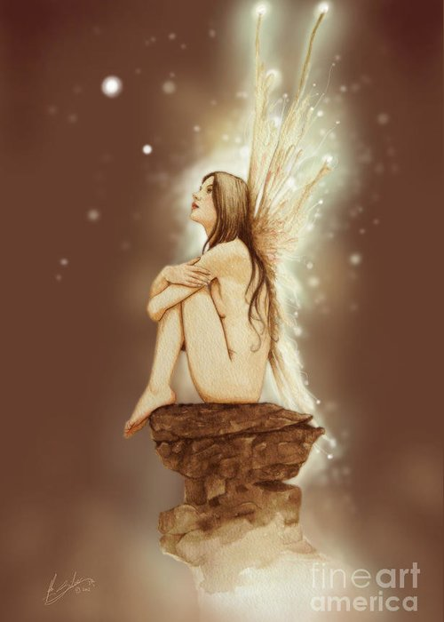 Paintings Greeting Card featuring the painting Daydreaming Faerie by John Silver