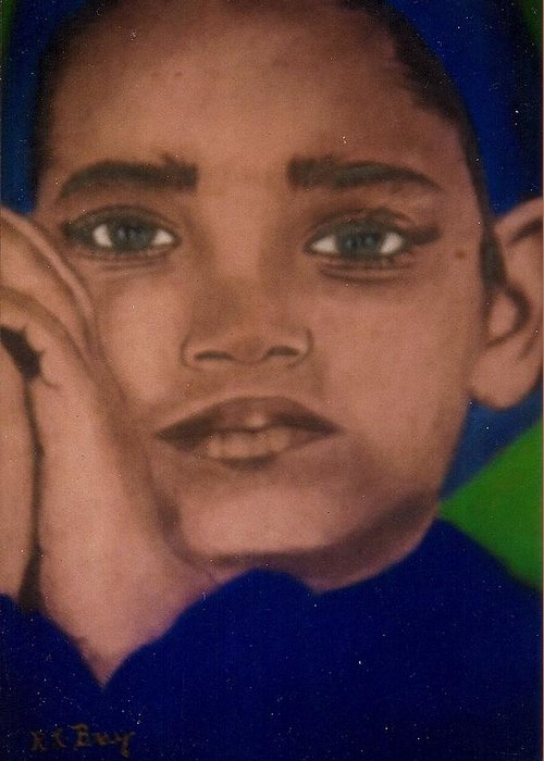 Portrait Of Young Boy With Hands Folded. Colors Blue And Green. Greeting Card featuring the painting Daydreamer by Robert Bray