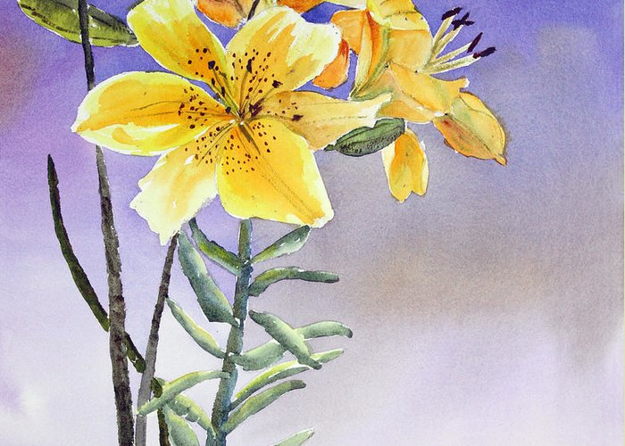 Lily Greeting Card featuring the painting Daylilies by Patricia Novack