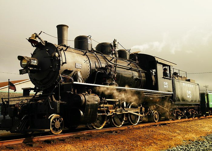 Trains. Steam Engines Steal. Steam Greeting Card featuring the photograph Days Of Steam And Steel by Jeff Swan
