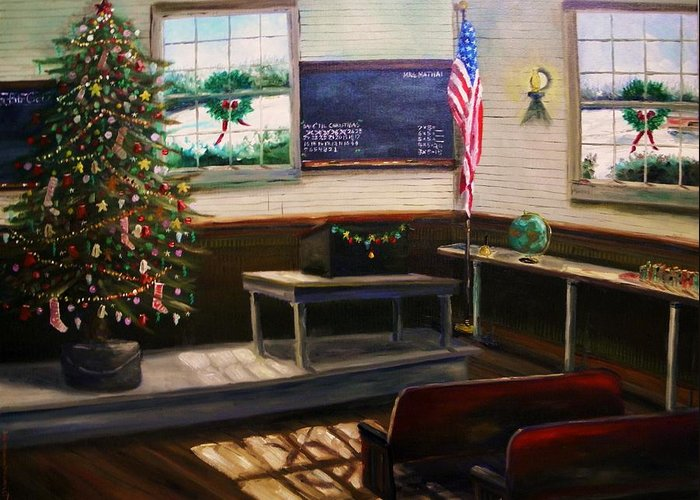 Oil Greeting Card featuring the painting Days Til Christmas by John Williams