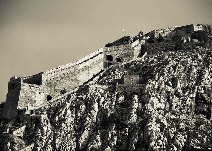 Nafplio Greeting Card featuring the photograph Daytime Palamidi Fortress by David Waldo