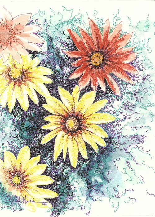 Daisies Greeting Card featuring the mixed media Dazzeled by Brian Edward Harris
