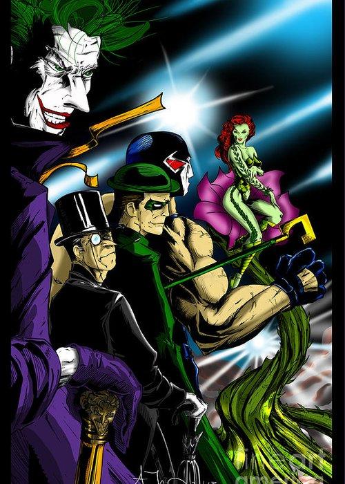 The Joker Greeting Card featuring the digital art Dc Villains by Alexiss Jaimes