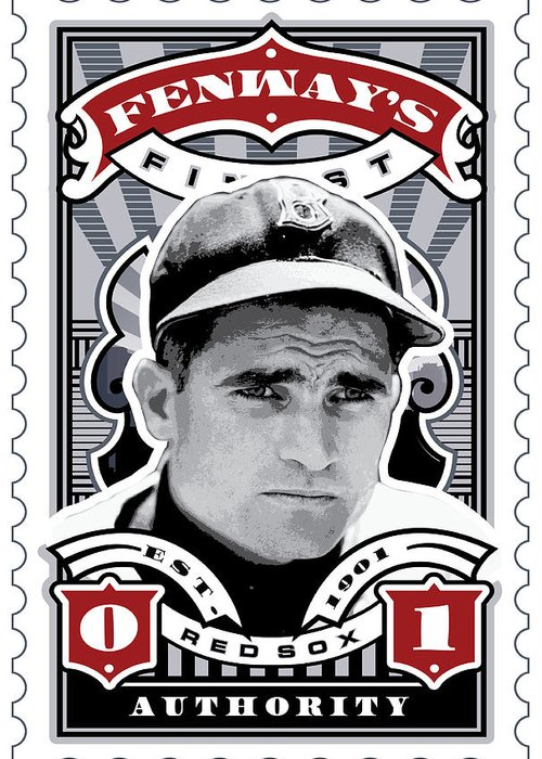 Ted Williams Greeting Card featuring the digital art Dcla Bobby Doerr Fenway's Finest Stamp Art by David Cook Los Angeles