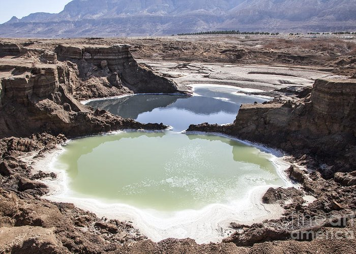 Sink Holes Greeting Card featuring the photograph Dead Sea Sinkholes by Eyal Bartov