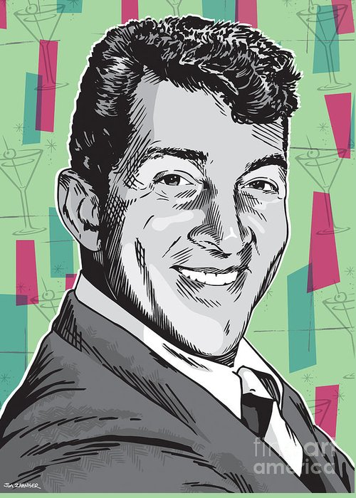 Music Greeting Card featuring the digital art Dean Martin Pop Art by Jim Zahniser