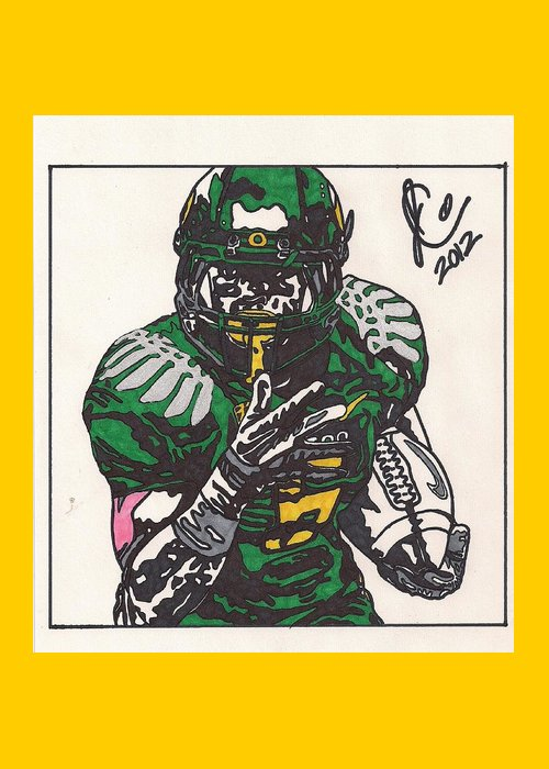 Oregon Ducks Drawings Greeting Card featuring the drawing De'anthony Thomas by Jeremiah Colley